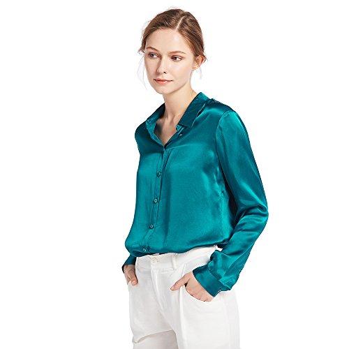 LILYSILK Chemisier en Soie Femme à Manches Longues Chemise Col V en Couleur Uni Classique Chic 18 Momme Bleu Royal