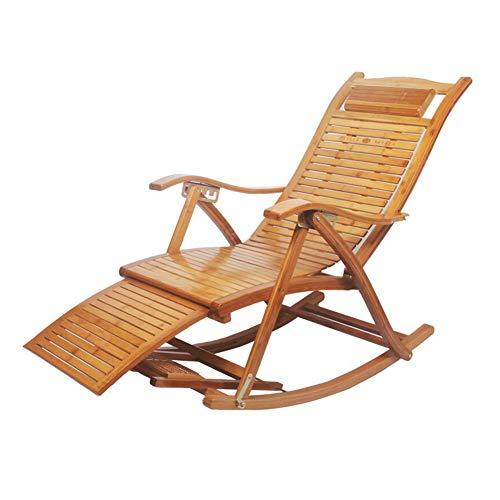CJC Schaukeln Stuhl Liegestühle Falten Bambus Sessel Rocker Deck Entspannend Recliner Sitz (Farbe : A1)