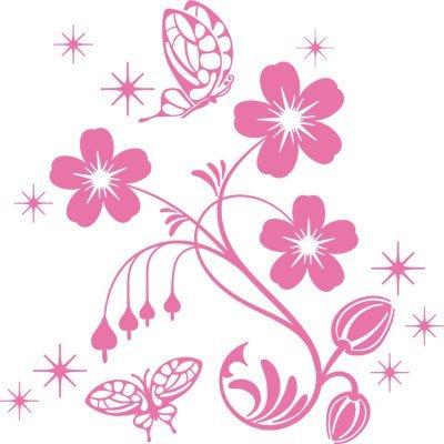 Adesivo sticker con fiori swarovski per farfalle soggiorno (30x30cm // 045 rosa chiaro // elemento di swarovski set 12 pz)