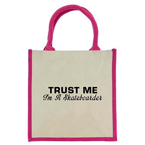 Trust Me I 'm A Skateboarder In Schwarz Print Jute Midi Einkaufstasche mit Pink Griffe und Trim