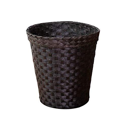 XIANGYU Nachgeahmtes Rattan, das ausgehöhltes Papierkorb-Papierkorb-Mülleimer-Mülleimer-Papierkorb-Papierkorb-Büro-Badezimmer oder Schlafzimmer-Behälter aushöhlt (Farbe : Schwarz)