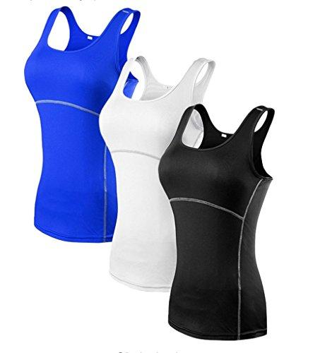 YR.Lover Damen 3er Pack Dry Fit Kompression Running Yoga Tank Top T-Shirt,  S, 3er Pack;schwarz.weiß.blau -