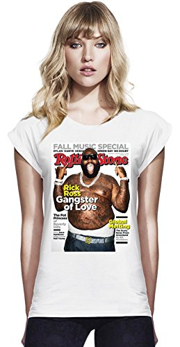 Rick Ross Rolling Stone Cover Womens Continental Rolled Sleeve T-Shirt Large -