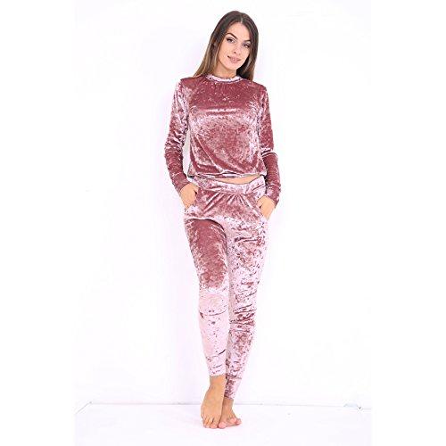 Mesdames concassée Velour Loungewear Two Piece Suit EUR Taille 36-42 Or rose
