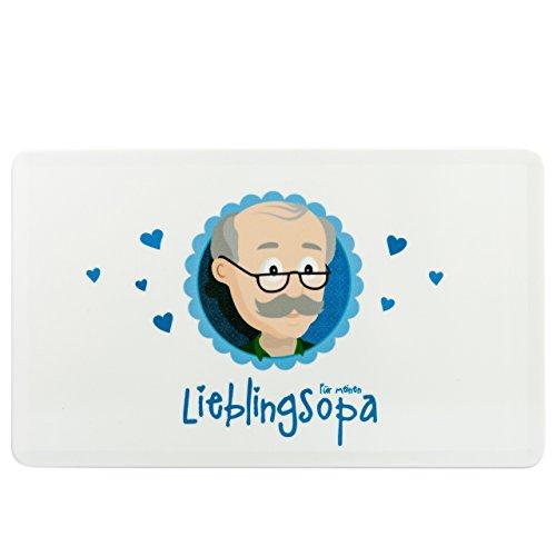 """Frühstücksbrettchen Opa als Opa Geschenk - Schneidebrettchen / Frühstücksbrett Opa aus Kunststoff – Opa Frühstücksbrett spülmaschinenfest 25 x 15 cm – Süßes Opa Frühstücksbrettchen als Geschenk für Opas mit Opa-Print und Aufdruck """"Für meinen Lieblingsopa""""– Geschenk Opa von MyOma + passende Gratis Glückwunschkarte"""