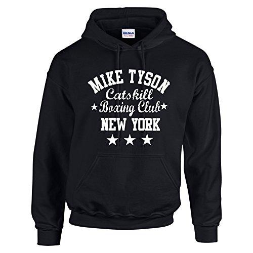 Felpa con cappuccio con scritta in inglese Mike Tyson Catskill Boxing Club New York Black