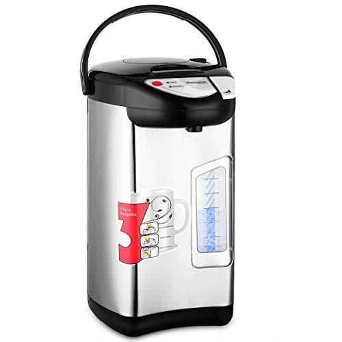 monzana Heißwasserspender 5 Liter - 750W | Edelstahl Gehäuse | 360° Drehbar | Warmhaltefunktion | Wasserkocher Wasseraufbereiter Thermopot