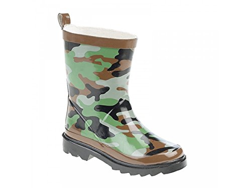 Stormwells Boys Camouflage Print Short Wellington Boots Green/Brown