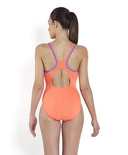 Speedo Damen Monogram Muscleback Badeanzug, , , SIREN/AFRICAN VIOLET