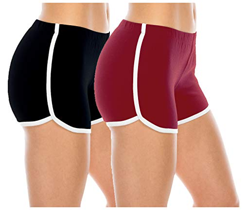 """THE BLAZZE 1010 Women Sports Shorts Gym Workout Yoga Short Shorts (Pack of 2) (Color May Vary) (Medium-(34""""/85cm), Dark Assorted)"""