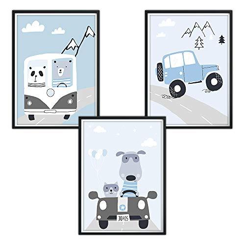luvel - (P29) 3er-Set DINA4 Poster für Kinderzimmer, Kinderposter Babyzimmer Bilder, Dekoration Spielzimmer, Kinder Bilder