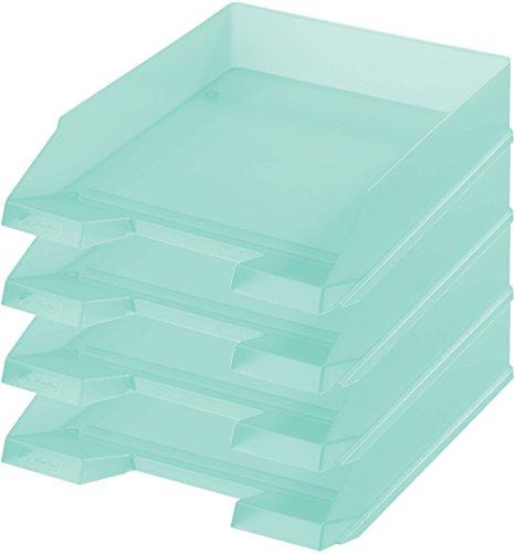 Herlitz Ablagekorb / Briefkorb / Briefablage für A4-C4, Pastell, stapelbar (4er Set in minze)