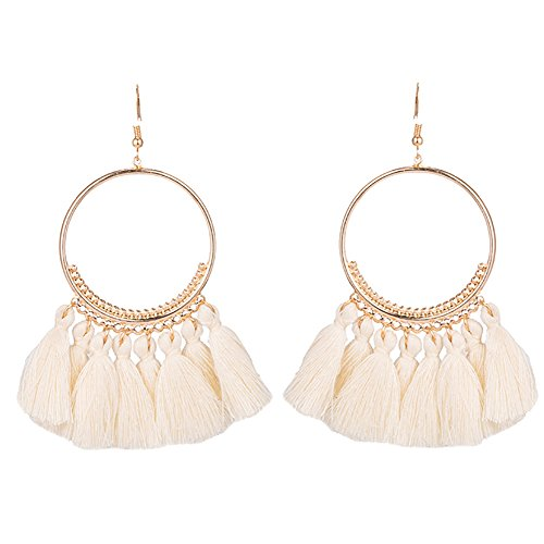 Leisial 1 Paare Damen Round Ohrringe Lange Ohrhänger mit Quasten Ohrringe Weiss 8.5CM (Quaste Weiße)