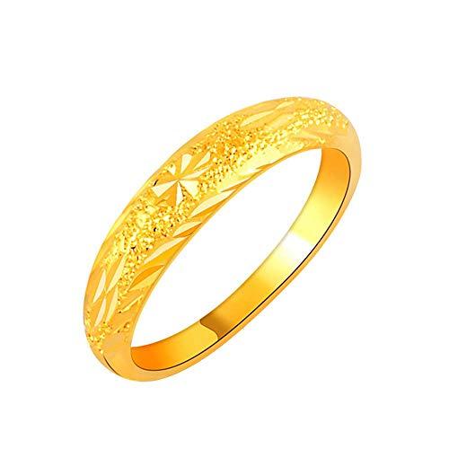 Purmy donne anello placcato oro fede nuziale frosted superficie design elegante stile oro dimensione 12