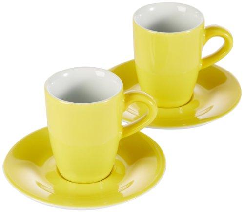KAHLA 57A298A70412C Pronto Colore gelb Porzellantassen Espressotassen Set dickwandig 4-teilig kleine Tasse 100 ml Untertasse 12 cm rund für 2 Personen