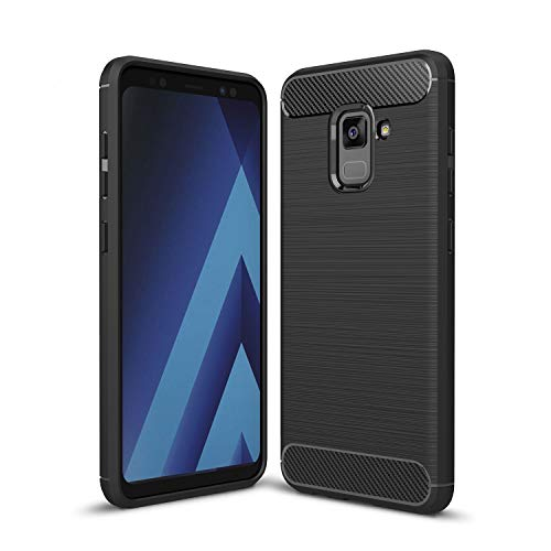 Kit Me Out DE® Galaxy A8 (2018) Schutzhülle TPU-Gel Gebürstete Carbonfaser Hülle Rückseite - stoßfest & robust - für Samsung Galaxy A8 (2018) - Schwarz