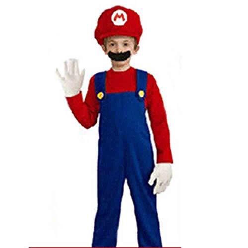 Kostüm Super Child Mario - Halloween Kostüm Mario Kostüm Mario Anime Cosplay Super Mario Spiel Kids Uniform,A,150cm