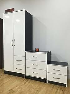 Marina Ultra High Gloss Quality 3 Piece Trio Bedroom Furniture Sets White Gloss Black Ash