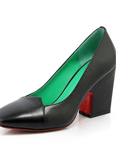 WSS 2016 Chaussures Femme-Bureau & Travail / Décontracté-Noir / Rouge / Beige-Gros Talon-Talons / Bout Carré-Chaussures à Talons-Cuir beige-us8 / eu39 / uk6 / cn39