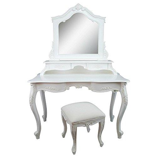 Mesa de maquillaje tocador con espejo, mesa y taburete. Color blanco con detalles florales.