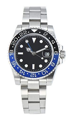 PARNIS 2034-BB GMT Herrenuhr Automatikuhr Edelstahl Saphirglas Keramiklünette Wasserdicht 5BAR DIN 8310 mechanisches Uhrwerk MZ-3813 mit zweiter Zeitzone
