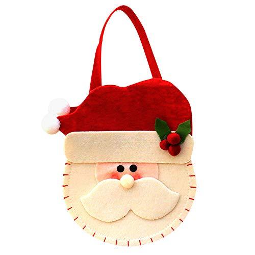 (Baby Mädchen Jungen Cartoon Aufbewahrungsbeutel Handtaschen, niedliches Kinder Weihnachten Santa Schneemann Cartoon Muster Tasche Candy Tasche Clutch, Weihnachten Decor rot)