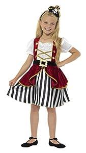 Smiffys-44404S Disfraz Deluxe de Pirata para Chica, con Vestido y Sombrero, Color Rojo y Negro, S - Edad 4-6 años (Smiffy