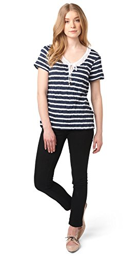 Tom Tailor für Frauen T-Shirt gestreiftes Crinkle-Shirt real navy blue