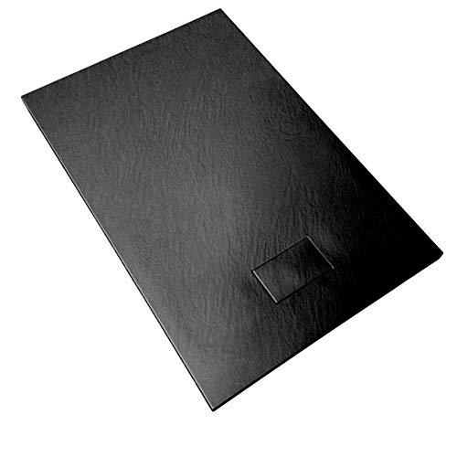 Duschwanne 70x120x2.6 Anthrazit Schwarz in Schieferoptik 2,6 cm Höhe aus thermogeformtem Acrylharz