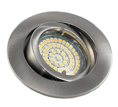 7er Set 230Volt LED SMD Einbaustrahler Lino. Spot in Farbe: Edelstahl gebürstet inkl. GU10 60er SMD Leuchtmittel Lichtfarbe: Kaltweiß 4200K + Fassung . 3Watt = 25Watt .Downlights