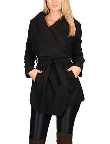 Kendindza Damen Mantel Trenchcoat mit Gürtel OneSize Lang und Kurz