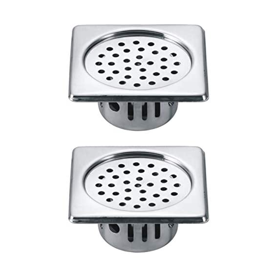 Drizzle Anti Cockroach Trap 6x6 Inch Square Stainless Steel With Chrome Finish/Cockroach Jali For Home And Kitchen/Drain Strainer For Bathroom - Combo Of 2 Pieces
