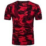 REALIKE Herren Kurzarmshirt Essential Basic Tarnmuster O-Ausschnitt Top Classics Casual Slim Fit T-Shirt Oversize für Männer Bis Größe M-2XL Sweatshirt in vielen Farben Vegan