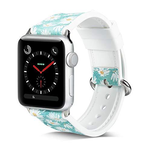 Apple Green Leder (Ginamart Ersatz-Uhrenarmband für Apple Watch, 38/40 mm, 42/44 mm, florales weiches Silikon und Leder, für iWatch Serie 4, 3, 2, 1, Damen, Apple Watch floral Leather Band, Green Daisy, 42mm (44mm))