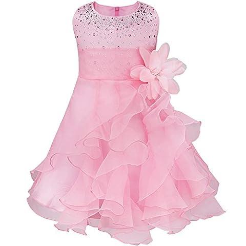 Tiaobug Baby Mädchen Kleid Prinzessin Hochzeit Taufkleid Blumenmädchen Festlich Kleid Kleinkind Festzug Kleidung Rosa 86-92 (Herstellergröße: 80)