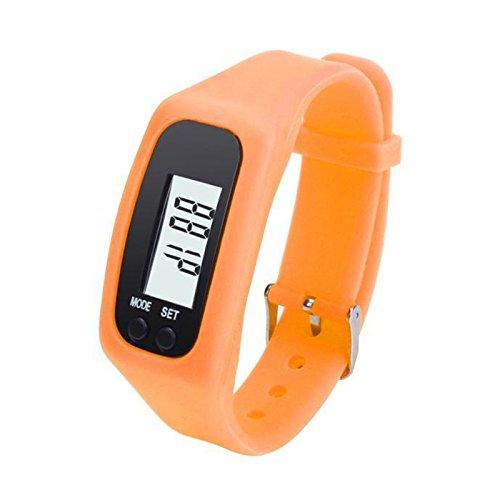 CARDMOE Leichtes LCD-Schrittzähler, Fitness-Tracker, wasserdichtes Armband, Kalorienzähler, Schrittzähler, orange, 10#