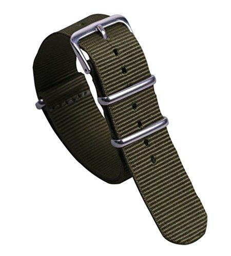 ballistisches Nylon Uhrenarmband-Bügel Ersatz 20mm grüne Armee militärische Freizeit NATO-Stil für Männer (Austauschbare Uhrenarmbänder)