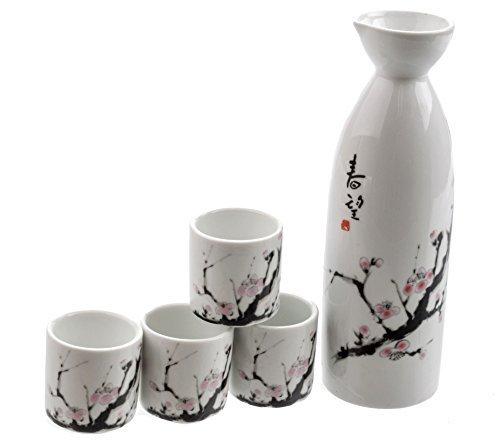 M.V. Trading MVSS-001 Porcelain Sake Set with Cherry Blossom, Design by M.V. Trading Cherry Blossom Sake Set