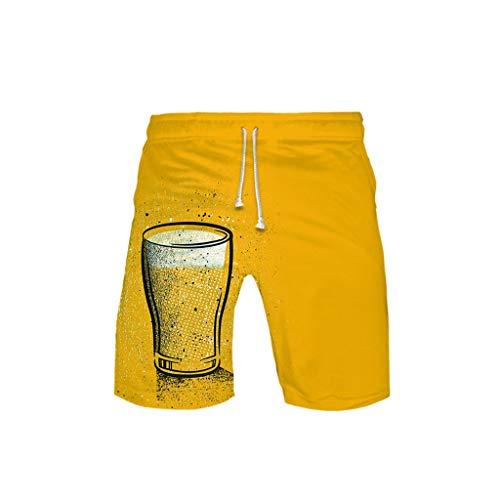 WOZOW Cargo Shorts Kurze Hose Damen Herren Casual Loose Boho Hawaii Oktoberfest Bierfest Print Muster Bedrucktes Midi Beach Freizeithose Stoffhose High Waist Lustig Kostüm Trouser - Ingwer Mann Kostüm