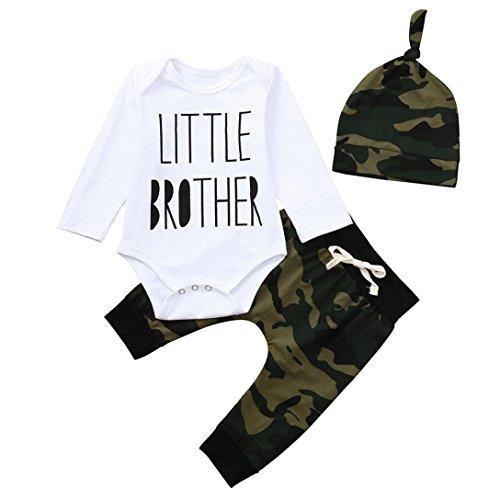 Kleidung, Neugeborenen Kleinkind Baby Jungen Brief Strampler Overall Camouflage Hosen Outfits Set (6-12M(80), Weiß) ()