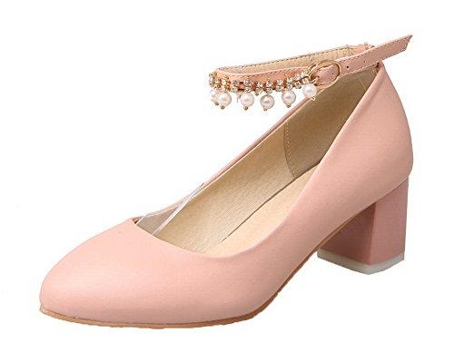 Agoolar donna fibbia punta tonda tacco medio luccichio puro ballet-flats, rosa, 31