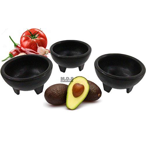 Molcajete 3Salsa Schüssel für Guacamole Sauce Chips Deep Mexikanische Tortilla schwarz Deep Dip