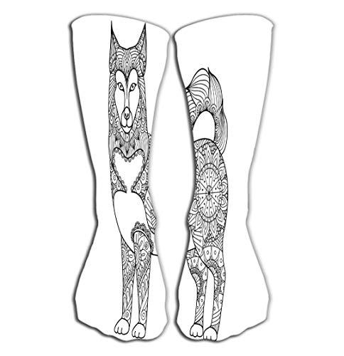 BAOLANZHANG Hohe Socken Outdoor Sports Men Women High Socks Stocking Alaskan Malamute Dog line Art Design Design Coloring Book Adult Stock Tile Length 19.7