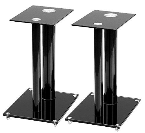 Pronomic SLS-28B Hifi/Studio Lautsprecher Stative (Lautsprecherständer, Boxenstativ, Höhe 47 cm, Glasplatten, Alurohre, Spikefüße) schwarz