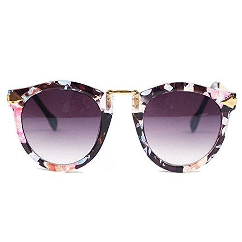 HuaYang Nouveau unisexe rétro lunettes de soleil d'aviateur verres(fleur)