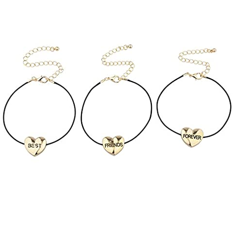 Lux Accessories Lot de 3 bracelets avec cœur avec inscription
