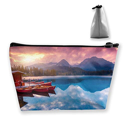 Holzhaus Boot Wald Lakeside Mountain Travel Kosmetiktaschen Federmäppchen Multifunktionsbeutel
