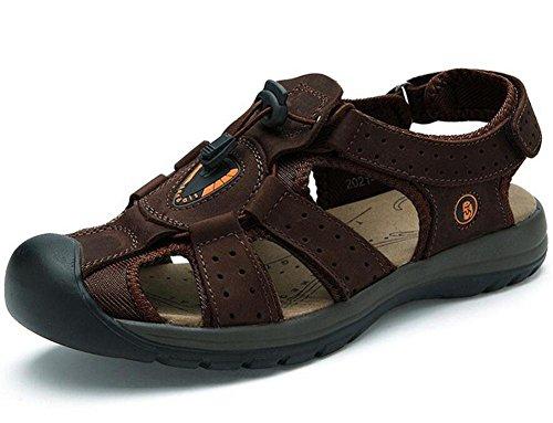 GLTER Traspirante Scarpe Da Spiaggia Estate Nuovo Cuoio Impermeabile Dei Sandali Degli Uomini Sandali Esterni Dark Brown