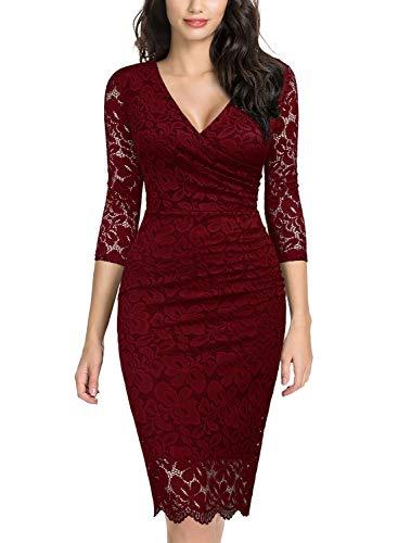 Miusol Vintage Encaje Lápiz Plisado Fiesta Vestido para Mujer Rojo Large