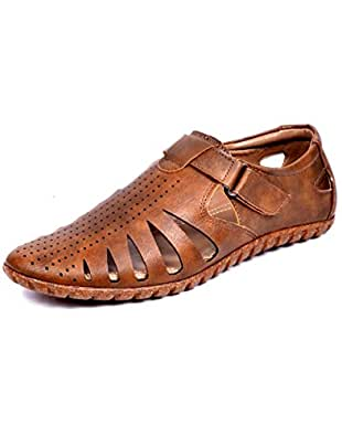 d2a1ebc57f49 Peponi Men s Beige Faux Leather Fisherman Casual Sandals and ...